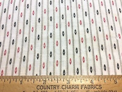 "Antique 1880s Cotton Fabric Red & Black Print 25""w 1/2 yd"