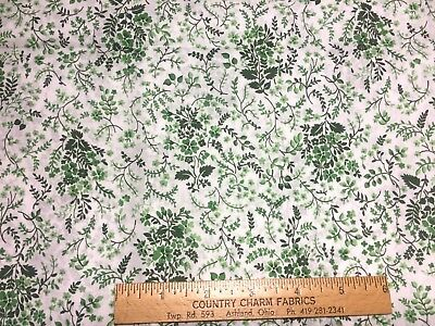 Vintage Cotton Fabric 40s50s PRETTY Green & White Floral 35w 1yd