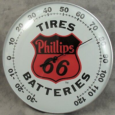 """Phillips 66™ Tires Batteries Thermometer 12"""" Round Glass Dome Sign"""