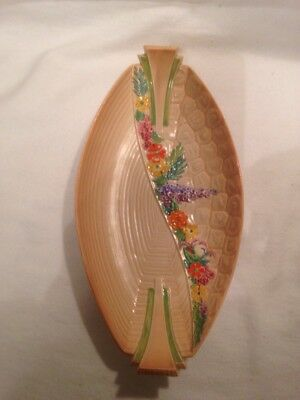 Vintage Carlton Ware Art Deco Long Dish With Flower Border. Great Condition.
