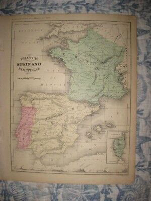 Antique 1868 France Spain Portugal Handcolored Map W Mountain Print Railroad Nr