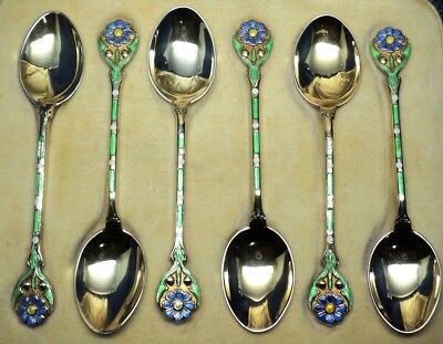 Boxed Set Of Six Solid Silver Gilt & Enamel Teaspoons By Turner & Simpson 1935
