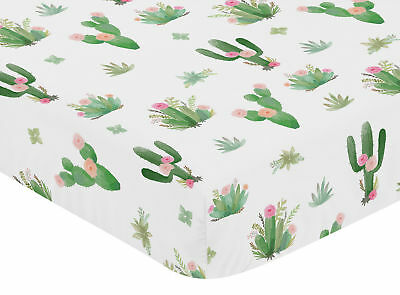 Pink Green Boho Watercolor Cactus Floral Girls Baby or Toddler Fitted Crib Sheet