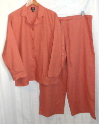 EILEEN FISHER Dark Orange 100% Linen Button Shirt M & Adjustable Pants L M/L