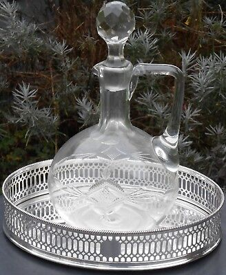 Large Silver Plated Coaster Tray & Cut Glass Claret Jug - Antique