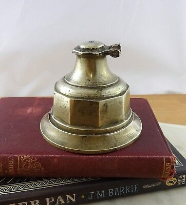 Vintage Indian Brass Inkwell, Pot, Ink Bottle with Hinged Lid