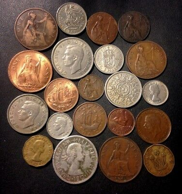 Vintage Great Britain Coin Lot - 1900-1967 - 21 Great Coins - Lot #F23