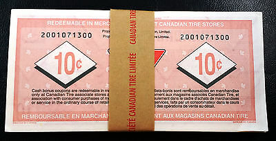 Stack of 100 Consecutive UNC Vintage Canadian Tire Money 10 Cent Coupon Notes