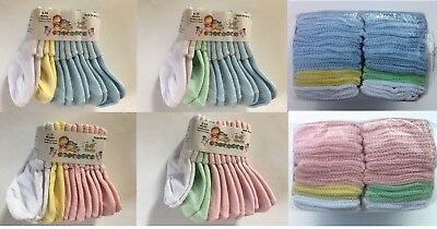 Infant Baby 6-18 mo Socks Girls Boys Pink / Blue White Yellow Green 6 ~ 12 PAIR