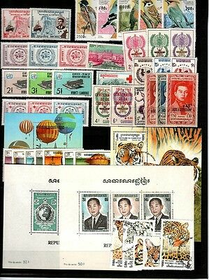 Cambodia lot - most NH complete sets (One set is CTO) - Catalog Value $76.00
