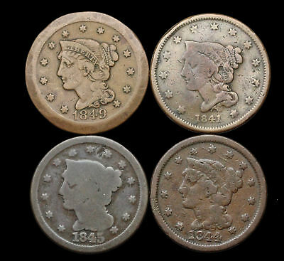 Braided Hair Large Cent, Lot of 4, 1841, 1844, 1845, 1849