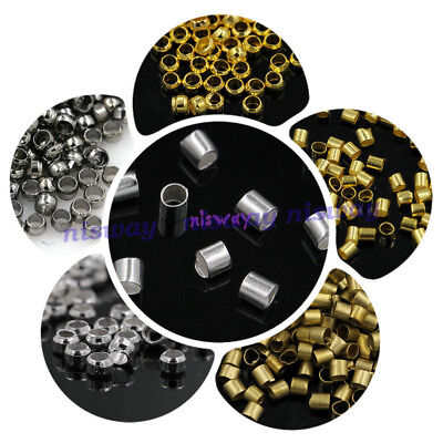 Cord Crimp Tube Beads Silver Gold Bronze Black 1.5mm 2mm 2.5mm 3mm free shipping