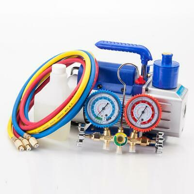 A/C Manifold Gauge Hose Air Conditioner R134a R502 +3CFM Rotary Vane Vacuum Pump