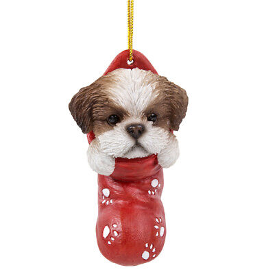 New STOCKING PUPS Ornament SHIH TZU DOG PUPPY Christmas Hanging Decor Figure