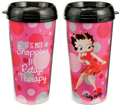 Betty Boop 'It's Retail Therapy'  Plastic Travel Mug-New in box