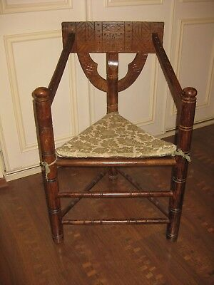 Neo-Gothic 3-Legged Oak Chair Vintage Antique Monks Stool Sweden