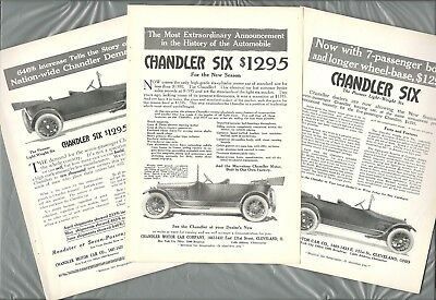 1915 CHANDLER SIX advertisements x3, Chandler touring car top folded down