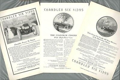 1917 CHANDLER SIX advertisements x3, Chandler touring car top folded down