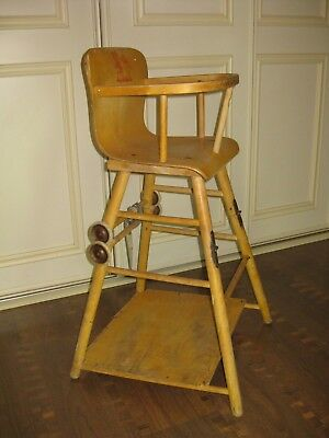 Swedish VINTAGE 1950s WOODEN  CONVERTIBLE HIGH CHAIR DESK