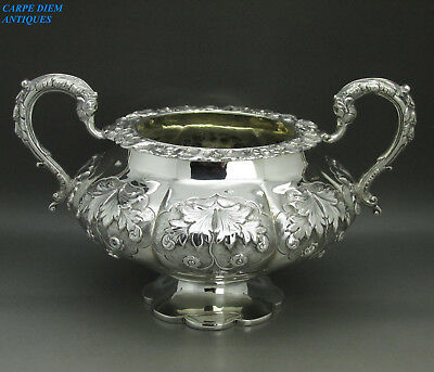 ANTIQUE ORNATE GREAT HEAVY SOLID SILVER EMBOSSED SUGAR BOWL, WH 468g LONDON 1831