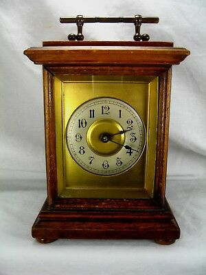 Antique Small Desktop Carriage Alarm Clock By HAC Beautiful Design & Working