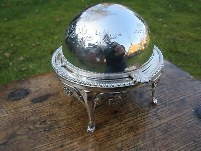 Butter / Caviar Revolving Dish EPNS English Silver Plated Glass Liner Superb