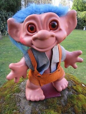 """Vintage X Large 12"""" Lucky Gonk Troll by Dam Things Establishment 1964 Ex Cond"""