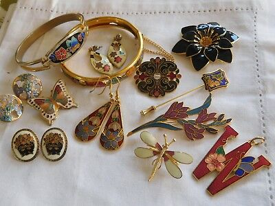 Lovely Mixed Collection of Vintage 1960s/70s Enamel Jewellery FISH etc