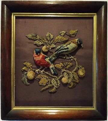 MID/LATE 19TH CENTURY PLUSH WORK OF A PAIR OF FINCHES? ON A FRUIT BRANCH c.1870