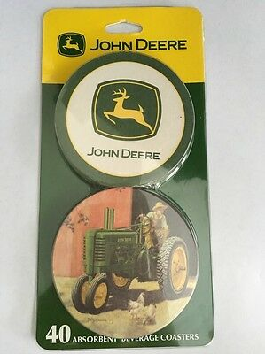 John Deere Coasters Set 40 Coaster Absorbent Beverage Licensed Collectable New