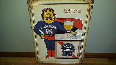 (L@@k) Pabst Blue Ribbon Beer Cool Blue Guy & Cape Tin Sign Game Room Man Cave