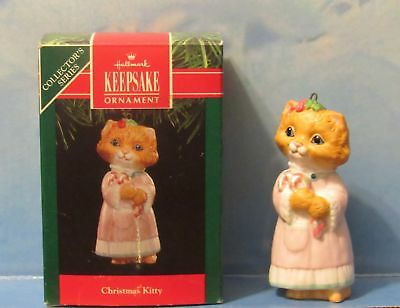 Hallmark Ornament Christmas Kitty 3rd in series 1991 Fine Porcelain Candy Canes