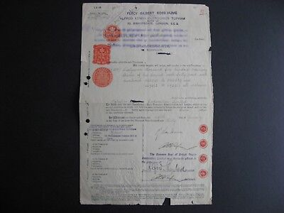 1930 Share transfer document with Palestine stamp duty,GB 10sh embossed revenues