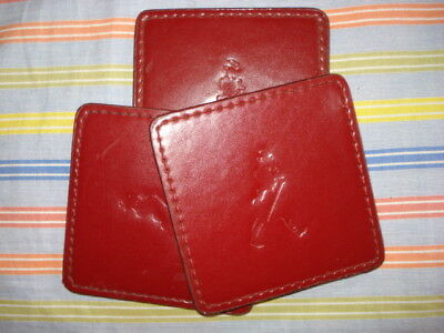 VINTAGE 3 RED LEATHER JOHNNIE WALKER Scotch Whisky collectable COASTERS