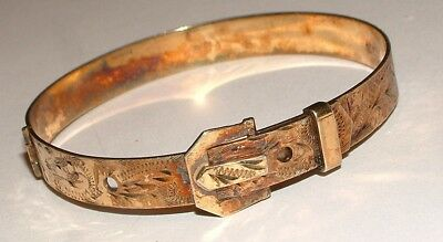 Vintage Silver opening  Buckle Bangle 1978  Gold overlay
