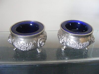 Vintage Silver Plated Salts With Glass Blue Liners