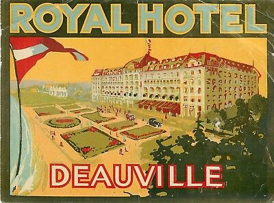 Deauville France Royal Hotel Beautiful Large Very Old Art Deco  Luggage Label