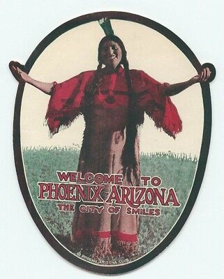 Welcome To Phoenix Arizona Amazing Native American Indian Travel Luggage Label