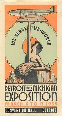 Detroit & Michigan Exposition 1935 Fabulous Art Deco Travel Luggage Label
