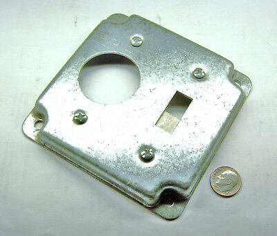 """Steel City Rs1 New 4"""" Sq Box Toggle & Single Receptacle Cover 1/2"""" Rise Galv St"""