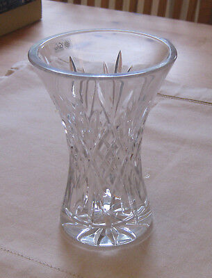 "Beautiful IRISH GALWAY 24% LEAD CRYSTAL Waisted CUT GLASS VASE - 6"" Tall - NEW"