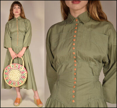 Vtg 80s olive cotton chic MINIMALIST buttons cinched FULL SWEEP resort dress S/M