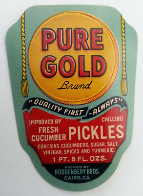 Vintage 1930s Pure Gold Cucumber Pickles Label Roddenbery Bros. Cairo, Georgia