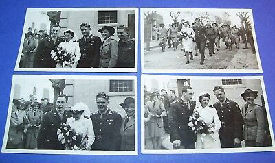 4 Original Ww2 Photos Lot: Wedding Of Aaf Officer & Australian Bride