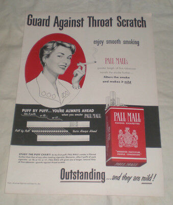 1950 PALL MALL CIGARETTES Print Ad- GUARD AGAINST THROAT SCRATCH