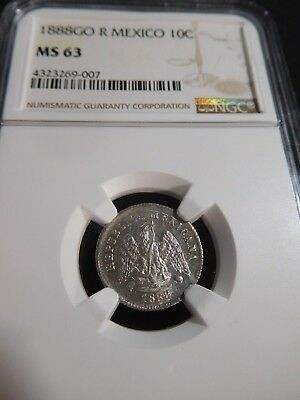 Th103 Mexico 1888-Guanajato, R 10 Centavos NGC MS-63
