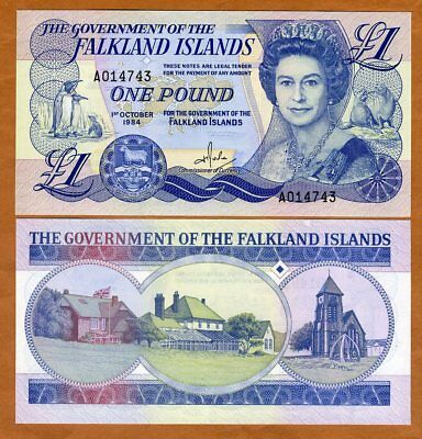 Falkland Islands, 1 pound, 1984 QEII, P-13, A-Series, UNC > Replaced by a coin