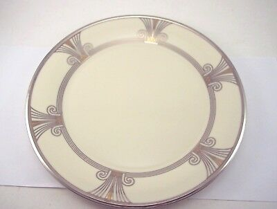 Lenox Dinner Plate Solitaire Deco Silver And Gold Trim Platinum Charger