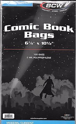 (200) Bcw Current / Modern Comic Book Size Bags / Covers And Free Shipping