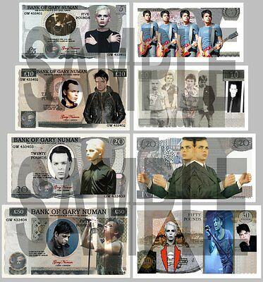 Set Of 4 Gary Numan Double Sided Fun Uk Style Notes  (Shipped From Uk)